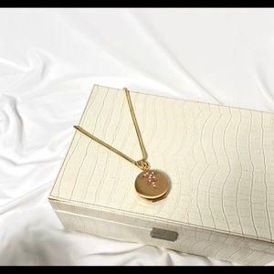 Gold vintage locket with mirror necklace